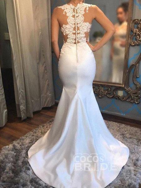 Mermaid Scoop Sleeveless Satin Applique Court Train Wedding Dresses_2