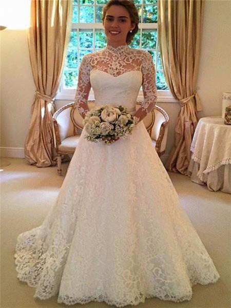 A-Line High Neck Sweep \ Brush Train Lace 3\4 Length Sleeve Lace Illusion Sleeve Wedding Dresses_3