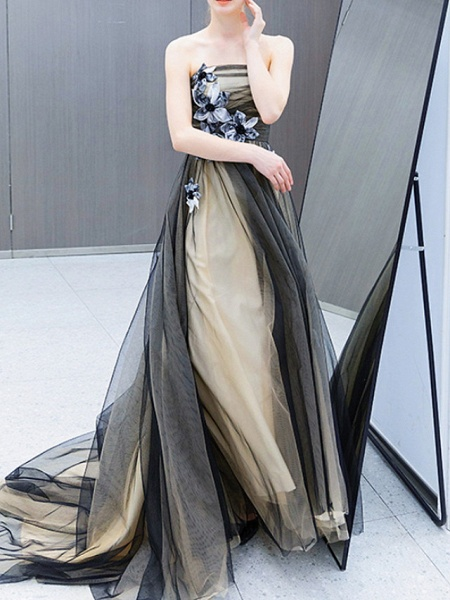 A-Line Wedding Dresses Strapless Sweep \ Brush Train Tulle Strapless Formal Black_2