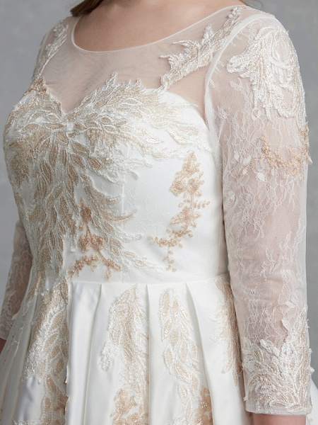 A-Line Wedding Dresses Scoop Neck Court Train Lace Satin Long Sleeve Romantic Glamorous See-Through Illusion Sleeve_9