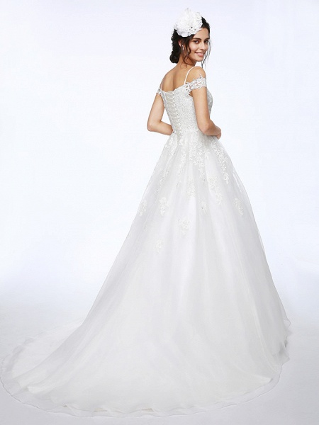 Ball Gown Wedding Dresses Off Shoulder Court Train Organza Beaded Lace Short Sleeve_2