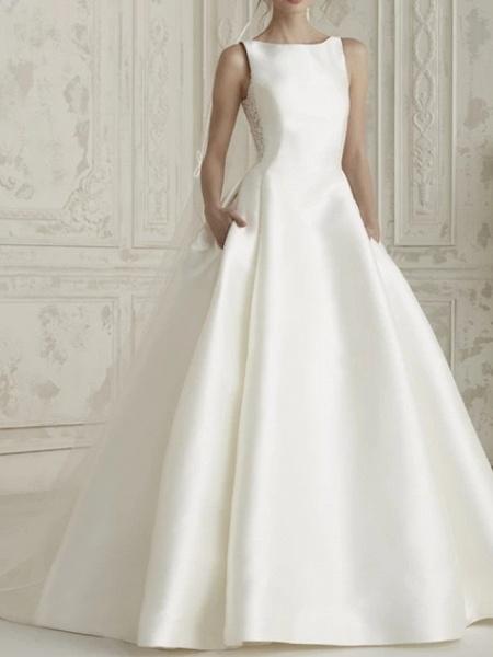 A-Line Wedding Dresses Bateau Neck Court Train Satin Regular Straps Simple Sparkle & Shine_1