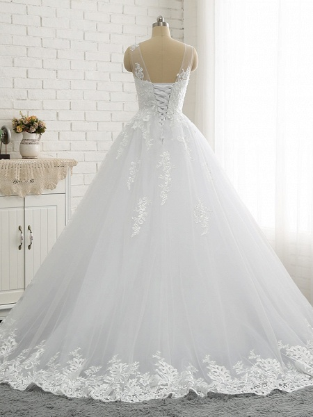 A-Line Wedding Dresses Scoop Neck Court Train Lace Tulle Lace Over Satin Regular Straps Romantic See-Through_4