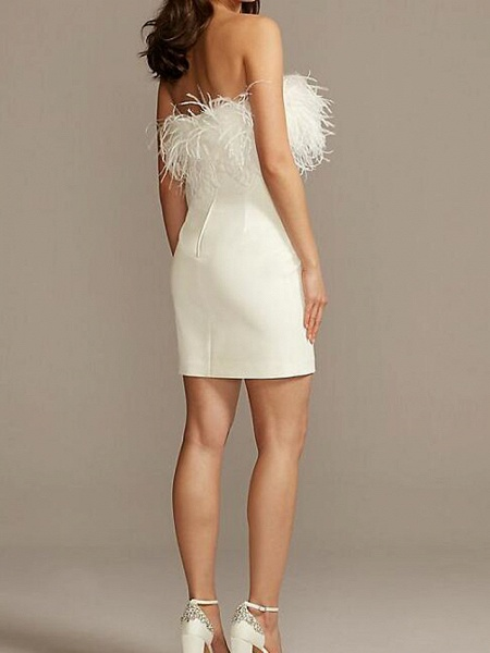 Sheath \ Column Wedding Dresses Strapless Short \ Mini Satin Feather Sleeveless Country Plus Size_3