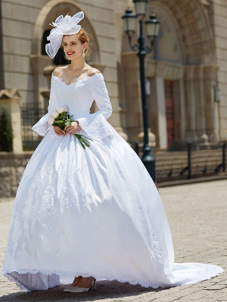 Ball Gown V Neck Chapel Train Satin Long Sleeve Wedding Dresses_5