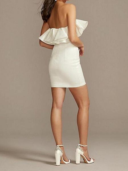 Sheath \ Column Wedding Dresses Strapless Short \ Mini Satin Sleeveless Country Plus Size_2