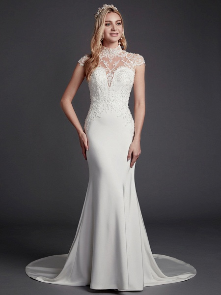 Mermaid \ Trumpet Wedding Dresses High Neck Court Train Lace Satin Sleeveless Sexy See-Through Illusion Detail Backless_1