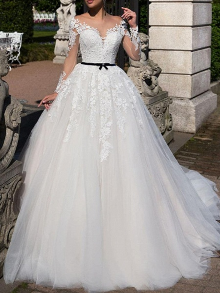A-Line Off Shoulder Tea Length Tulle Short Sleeve Vintage Sexy Wedding Dress in Color See-Through Wedding Dresses_1