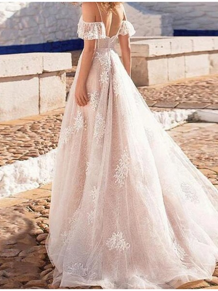 A-Line Wedding Dresses Spaghetti Strap Floor Length Lace Tulle Short Sleeve Beach Sexy See-Through_2
