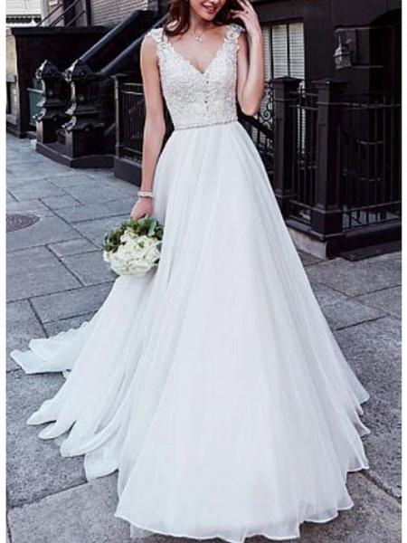 A-Line Wedding Dresses V Neck Court Train Chiffon Lace Regular Straps_1