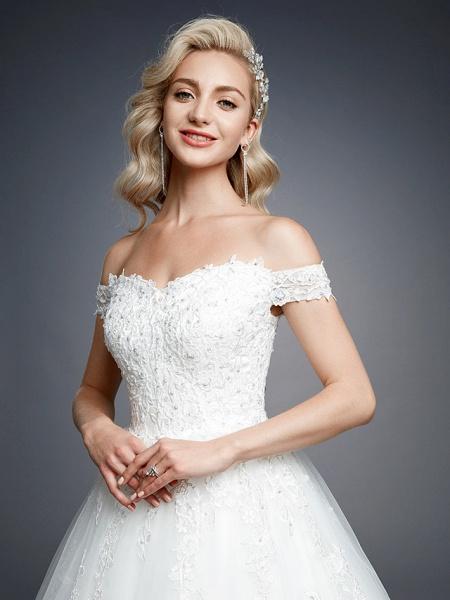 Ball Gown Wedding Dresses Off Shoulder Court Train Lace Tulle Short Sleeve Romantic Sparkle & Shine_8