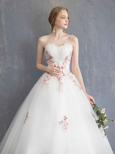 A-Line Wedding Dresses Strapless Maxi Lace Organza Tulle Strapless Country Romantic Sparkle & Shine_8