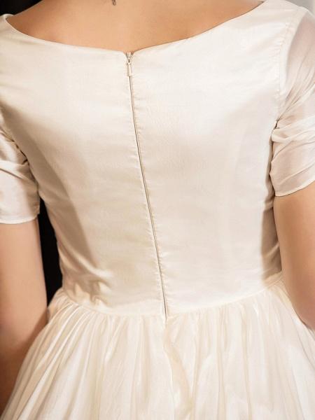 A-Line Wedding Dresses V Neck Tea Length Taffeta Short Sleeve Vintage Little White Dress 1950s_8