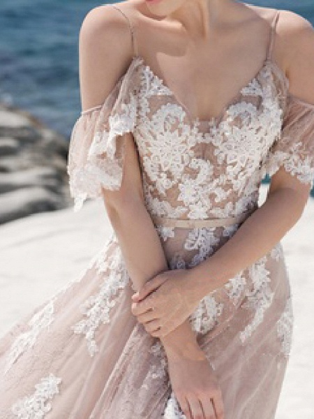 A-Line Spaghetti Strap Sweep \ Brush Train Lace Tulle Short Sleeve Beach Sexy Wedding Dress in Color Wedding Dresses_4