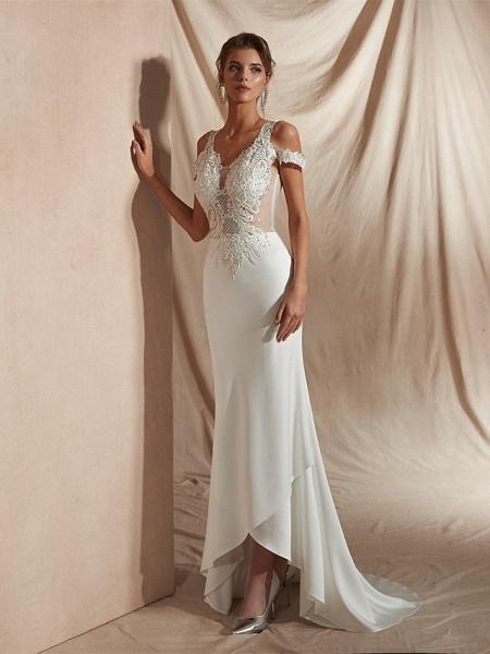 Mermaid \ Trumpet Wedding Dresses V Neck Asymmetrical Matte Satin Short Sleeve Casual Sexy Illusion Detail Modern_6