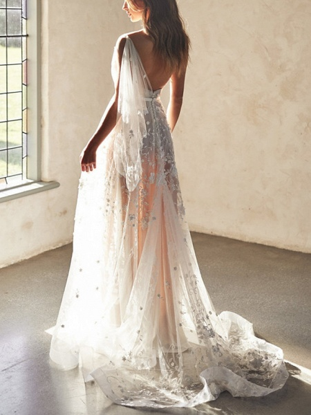 A-Line Wedding Dresses Sweetheart Neckline Court Train Lace Sleeveless Sexy Wedding Dress in Color See-Through_5