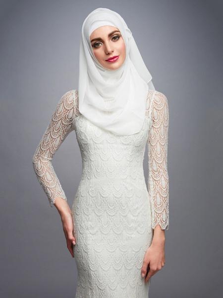 Mermaid \ Trumpet High Neck Court Train Lace Long Sleeve Wedding Dresses_6