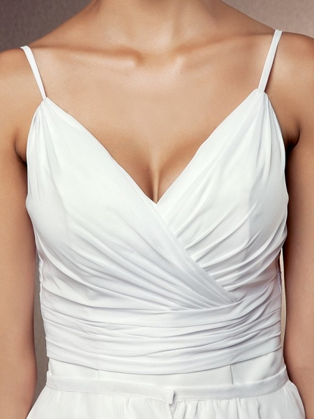 Sheath \ Column Wedding Dresses V Neck Asymmetrical Chiffon Sleeveless_7