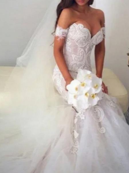 Mermaid \ Trumpet Off Shoulder Court Train Lace Tulle Regular Straps Formal Plus Size Wedding Dresses_2