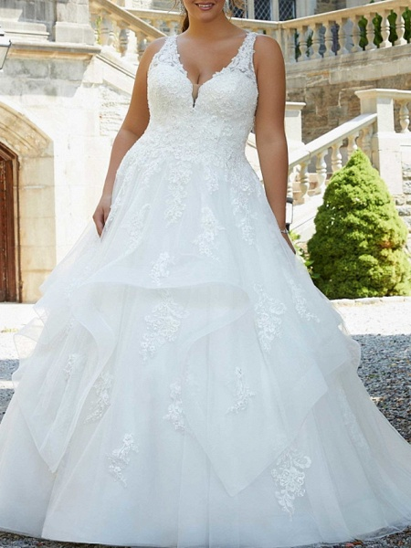 A-Line V Neck Watteau Train Lace Tulle Sleeveless Formal Sexy Plus Size Wedding Dresses_1