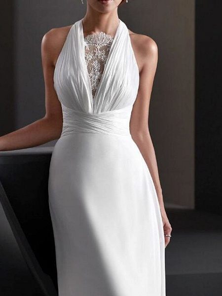 A-Line Wedding Dresses Halter Neck Sweep \ Brush Train Chiffon Sleeveless Country Plus Size_3