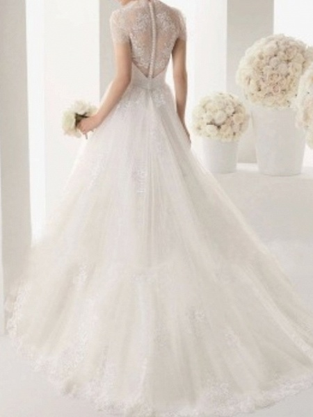 A-Line Wedding Dresses V Neck Sweep \ Brush Train Lace Cap Sleeve Beach_2