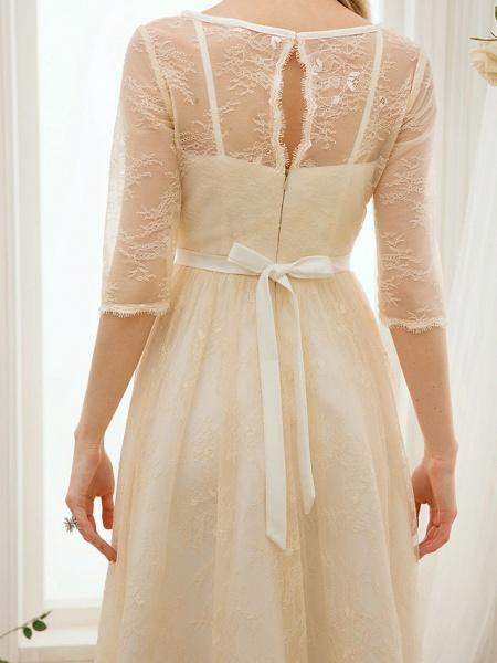 A-Line Wedding Dresses Bateau Neck Knee Length Lace Charmeuse 3\4 Length Sleeve See-Through_8