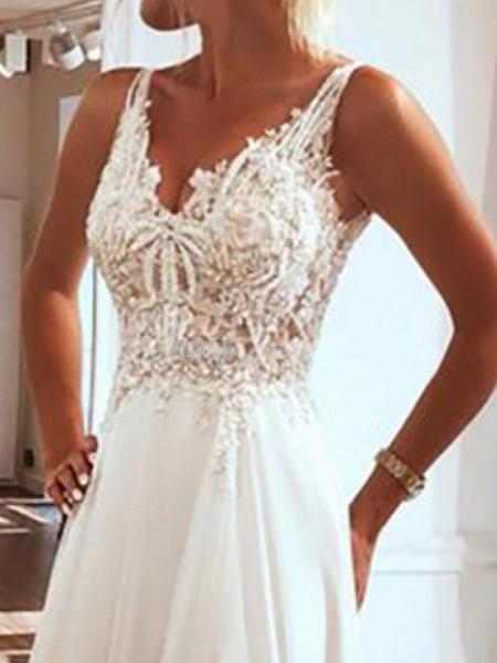 A-Line Wedding Dresses V Neck Spaghetti Strap Sweep \ Brush Train Lace Chiffon Over Satin Sleeveless Beach Boho Sexy_3