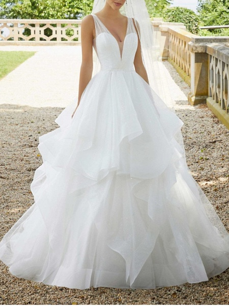 Ball Gown V Neck Sweep \ Brush Train Organza Sequined Sleeveless Sexy See-Through Wedding Dresses_1