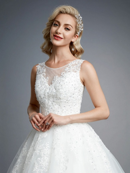 Ball Gown Wedding Dresses Jewel Neck Floor Length Lace Tulle Regular Straps Formal Casual Illusion Detail Backless_7