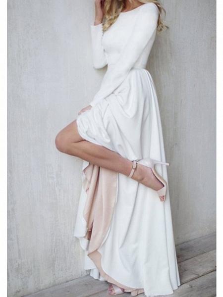 A-Line Wedding Dresses Jewel Neck Sweep \ Brush Train Chiffon Over Satin Long Sleeve Simple Modern_3