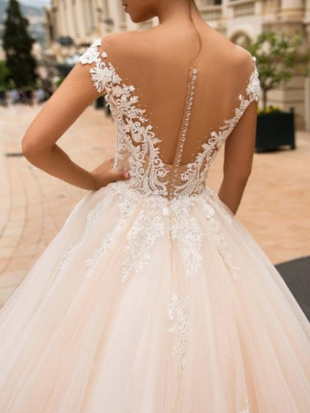 Ball Gown A-Line Off Shoulder Court Train Lace Satin Tulle Short Sleeve Vintage Sexy Wedding Dress in Color See-Through Backless Wedding Dresses_2