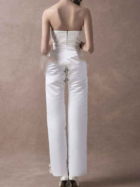 Jumpsuits Wedding Dresses V Neck Floor Length Satin Sleeveless Simple Modern_7