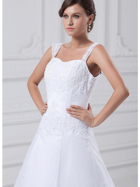 A-Line Wedding Dresses Square Neck Chapel Train Lace Organza Satin Regular Straps_5