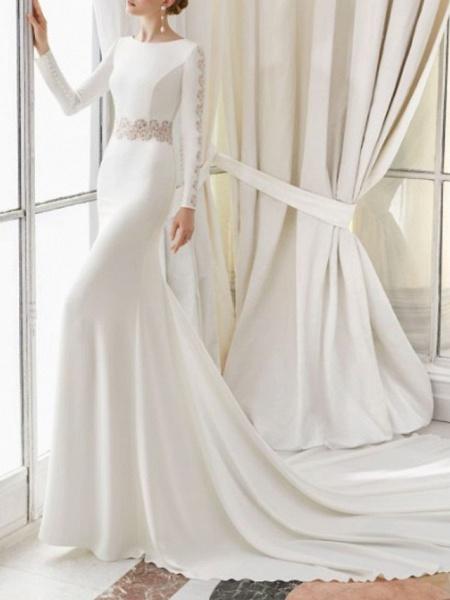 Sheath \ Column Wedding Dresses Jewel Neck Court Train Satin Long Sleeve_1