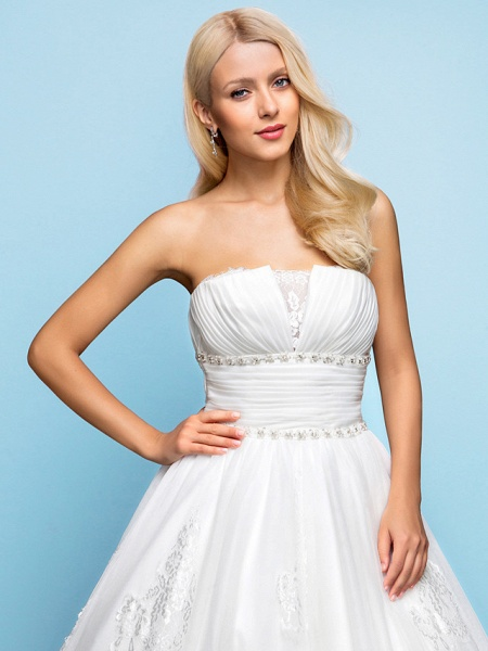 Ball Gown Wedding Dresses Strapless Court Train Organza Tulle Sleeveless_5
