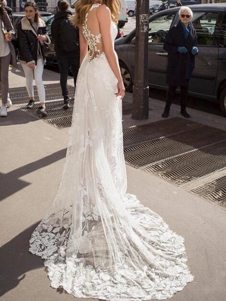 A-Line Wedding Dresses V Neck Sweep \ Brush Train Lace Tulle Jersey Sleeveless Beach Boho Sexy See-Through_2