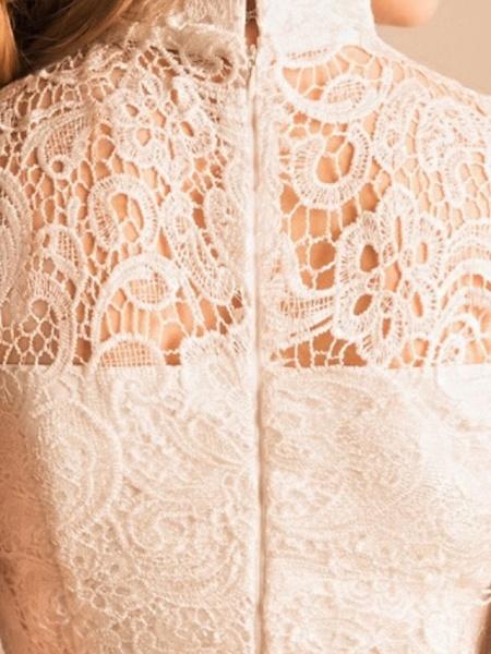 Mermaid \ Trumpet Wedding Dresses High Neck Ankle Length Lace Sleeveless Beach_3