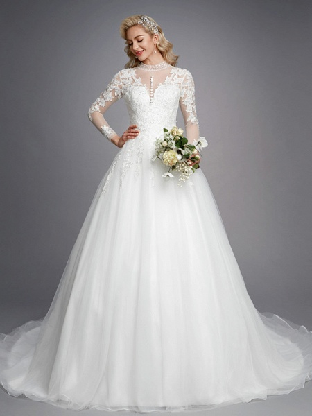Ball Gown High Neck Court Train Lace Tulle Long Sleeve Romantic Plus Size Illusion Sleeve Wedding Dresses_1