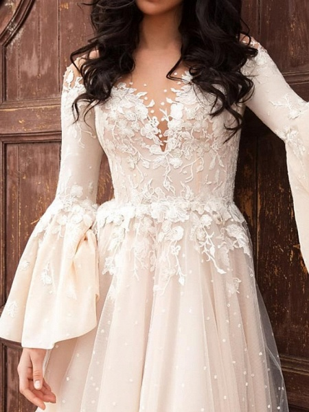 A-Line Wedding Dresses V Neck Court Train Chiffon Lace Tulle Long Sleeve Formal_3