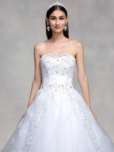 Ball Gown Wedding Dresses Sweetheart Neckline Sweep \ Brush Train Tulle Over Lace Strapless Country Glamorous Sparkle & Shine Backless_4