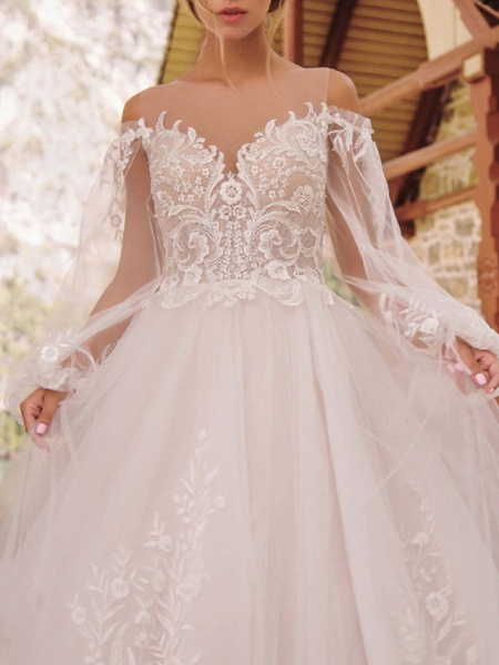 A-Line Wedding Dresses Jewel Neck Floor Length Lace Tulle Long Sleeve Formal See-Through_3