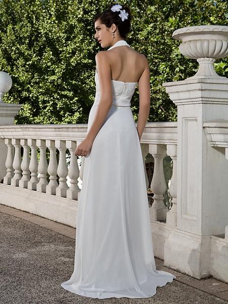 Sheath \ Column Wedding Dresses Halter Neck Sweetheart Neckline Asymmetrical Chiffon Sleeveless_4