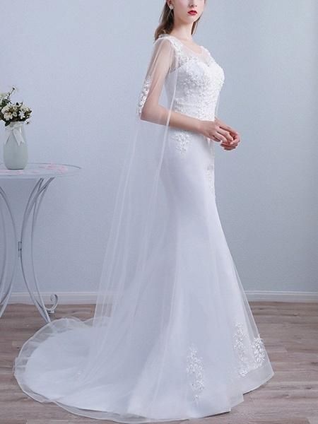 Mermaid \ Trumpet Wedding Dresses Jewel Neck Sweep \ Brush Train Lace Long Sleeve Beach Cape_2