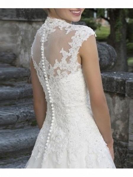 A-Line Wedding Dresses V Neck Floor Length Tulle Regular Straps_4
