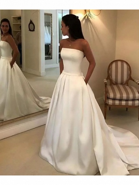 A-Line Wedding Dresses Strapless Court Train Polyester Strapless Sexy Plus Size_3