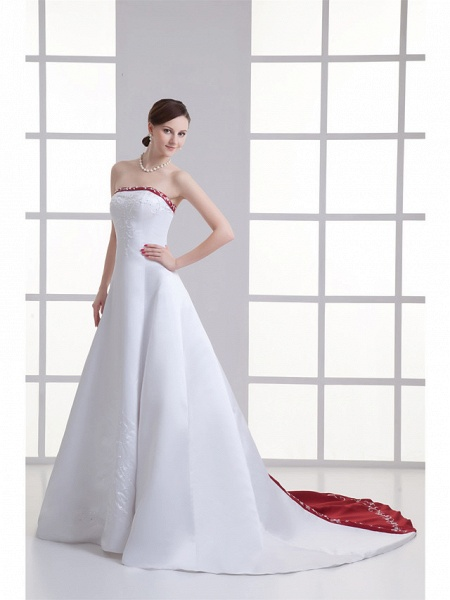 A-Line Strapless Chapel Train Satin Strapless Wedding Dress in Color Wedding Dresses_2