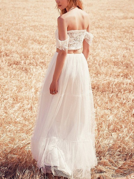 Two Piece Wedding Dresses Off Shoulder Sweep \ Brush Train Tulle Short Sleeve Beach_2