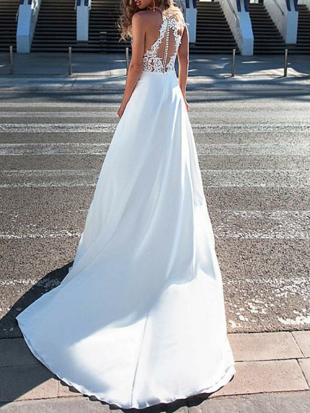 A-Line Wedding Dresses Halter Neck Sweep \ Brush Train Chiffon Strapless Romantic Boho Illusion Detail Backless_2
