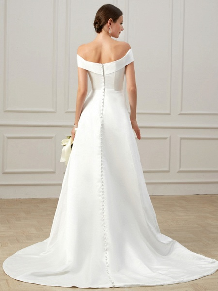 A-Line Wedding Dresses Off Shoulder Court Train Satin Short Sleeve Formal Vintage Plus Size_5